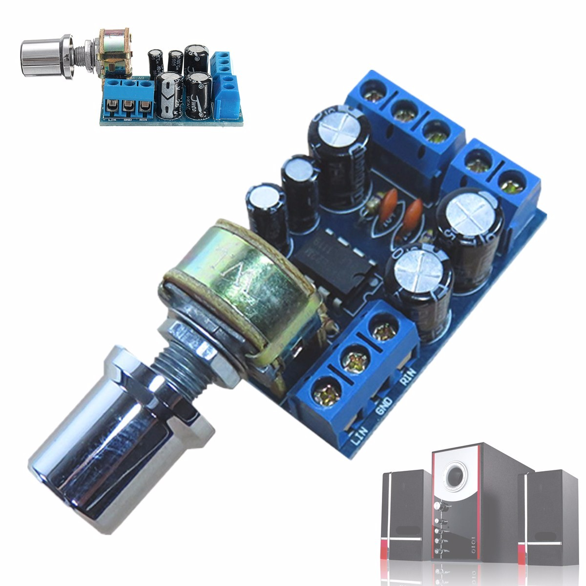 LEORY TDA2822M Stereo Audio Amplifier Board Dual Channel 1W*2 Volume Control Operational Amplifier Chips  Board DC 1.8-12V