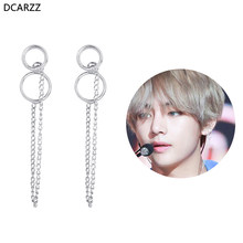 2018 K-POP Bangtan Boys Album BTS V Kim Taehyung Stud Earrings 2018 Double Circle Chain Tassel Korean Earring Fashion Jewelry(China)