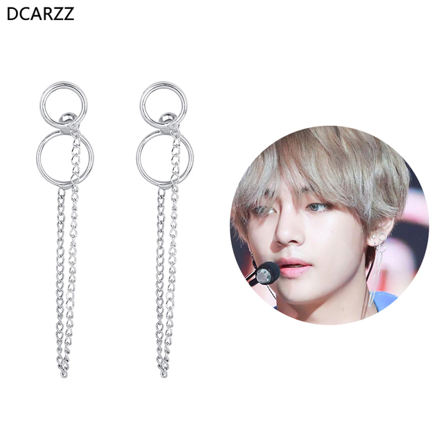 2018 K-POP Bangtan Boys Album BTS V Kim Taehyung Stud Earrings 2018 Double  Circle Chain Tassel Korean Earring Fashion Jewelry