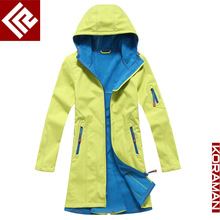 Women 's soft shell Jackets Autumn and winter models Outdoor windbreaker and long sections Mountaineer skiing fishing Riding
