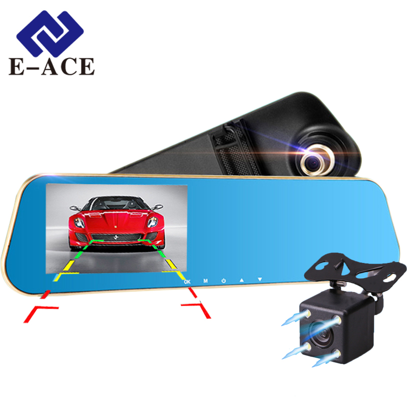 E-ACE Full HD Car Dvr Digital Video Recorder Auto Rear-view Dual Lens Camera Rearview Mirror Vehicle Registrar Dash Camcorder