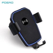 FDGAO QI Беспроводной автомобиля Зарядное устройство Автоматическое Тяжести вентиляционное отверстие автомобильный держатель телефона Подставка для iphone 8 Plus X XS Max XR samsung S9 S8 S7
