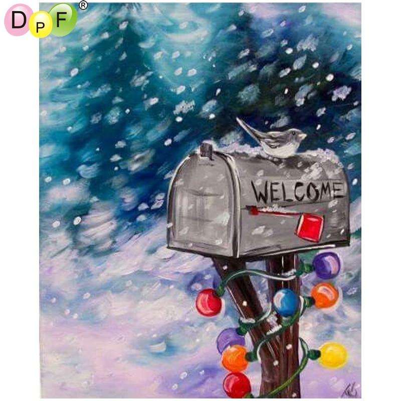 DPF DIY Mail the bird 5D diamond embroidery crafts wall painting diamond mosaic square diamond painting cross stitch home decor