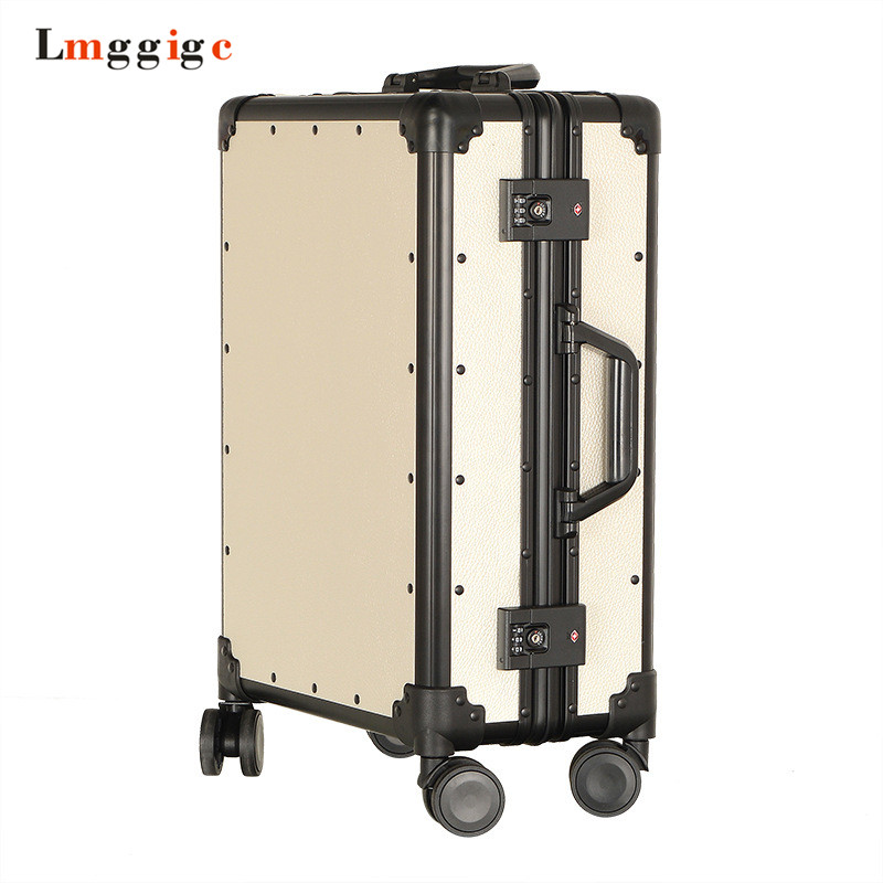 Vintage Aluminum frame+PC Suitcase Bag,high-quality Rolling Luggage, New Universal wheel Travel Box, Retro Trolley CaseVintage Aluminum frame+PC Suitcase Bag,high-quality Rolling Luggage, New Universal wheel Travel Box, Retro Trolley Case