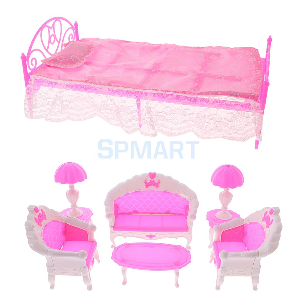 1:6 Poppenhuis Meubels Set Sofa Stoelen Lampen Thee Tafel + Bed Met Laken Kussen Slaapkamer Set Voor Poppenhuis Accessoires