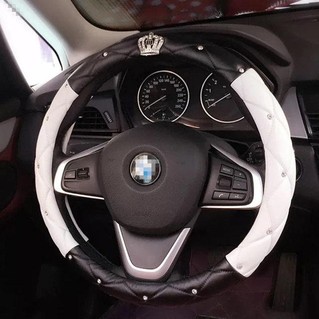 Rhinestone Crystal Car Steering wheel cover Crown Coverd Women  Luxurious Diamond PU Leather Car handles cover