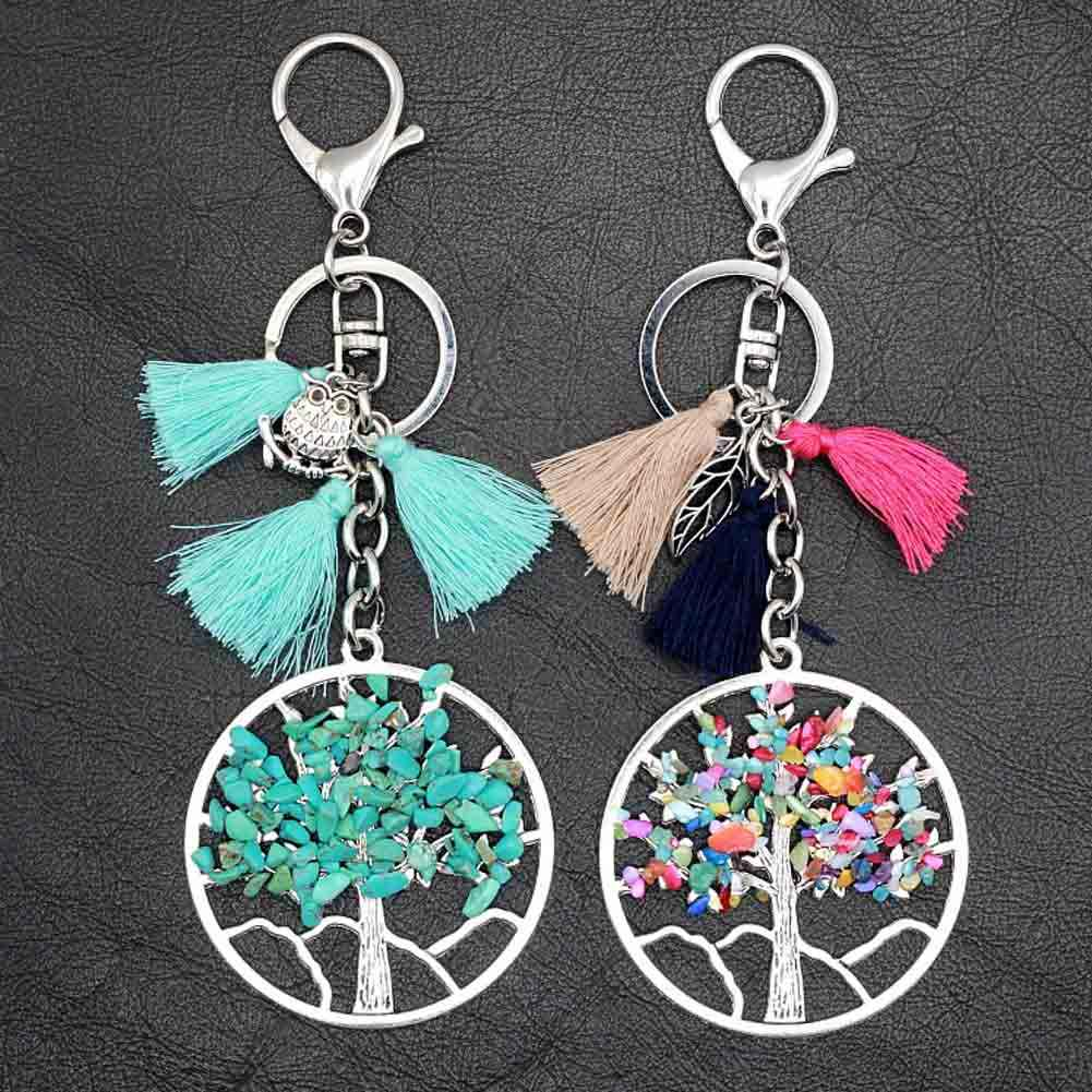 Vintage Charms Chakra Tree Of Life Pendant Tassel Keychain Crystal Natural Stone Key Chain Women Chaveiro Key Ring