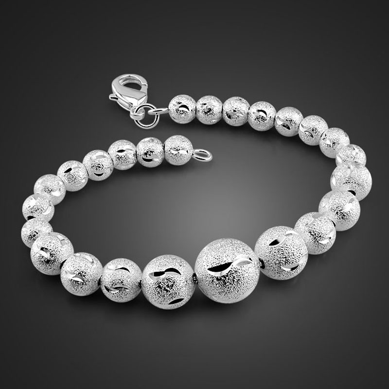 High quality sterling silver woman <font><b>bracelet</b></font>. Solid 925 Silver Scrub Round <font><b>19cm</b></font> <font><b>Bracelet</b></font>. Fashion Glamour Lady Silver Jewelry image