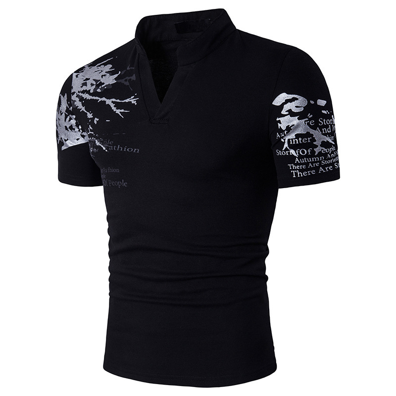 V-Neck Mandarin Collar Man   Polo   Shirts Printed 2018 Summer Short Sleeve   Polo   Shirt Cotton Casual Business Men's   Polos   Shirts B69