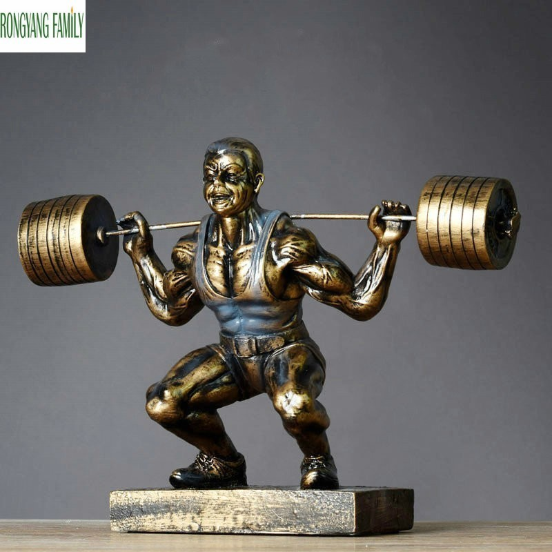 USA Mr. Weightlifting Sculpture European Resin Ornaments Character Statue Art Model Home Decoration Accessories Figurine CraftsUSA Mr. Weightlifting Sculpture European Resin Ornaments Character Statue Art Model Home Decoration Accessories Figurine Crafts