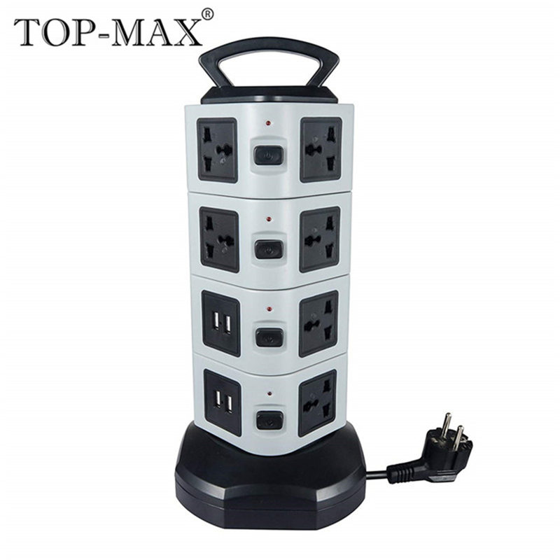 цена на TOP-MAX 4-Layer Extension Socket 14 Outlets 4 USB Ports EU-Plug 2M Cable Vertical Socket Strip Socket With Overload Protector