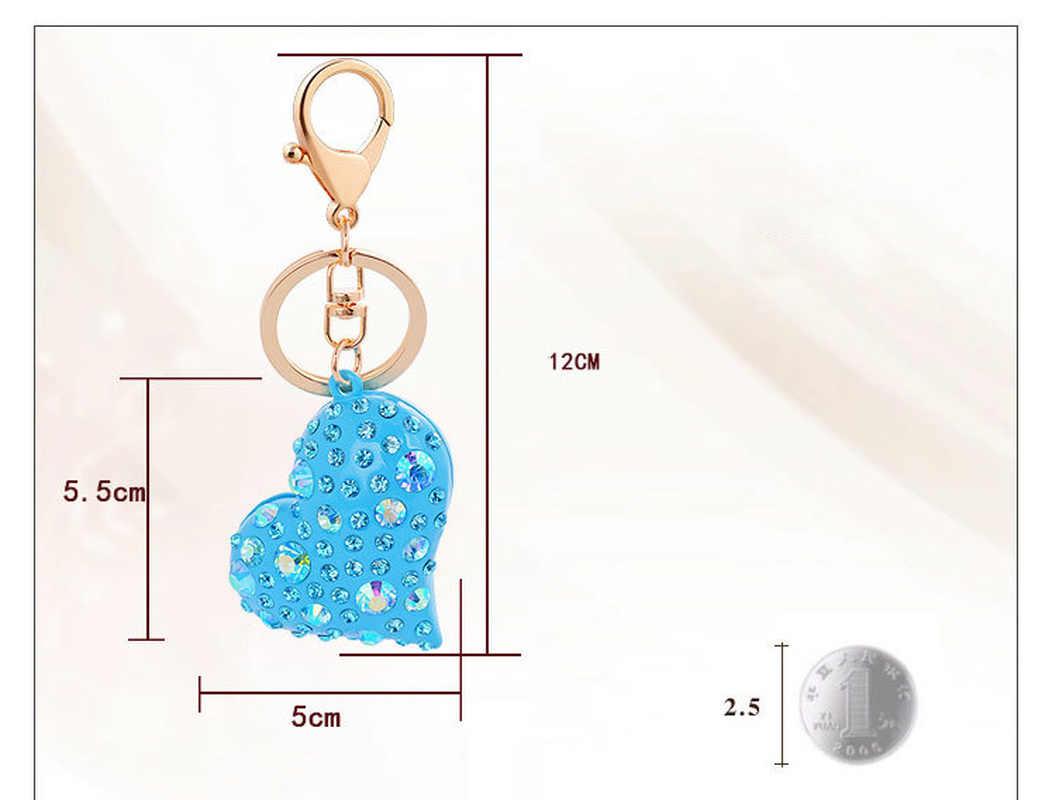 แฟชั่น Multicolor Rhinestone พวงกุญแจหัวใจคริสตัล Key Chain Chaveiro Llavero พวงกุญแจผู้หญิงกระเป๋า Charm จี้อุปกรณ์เสริม