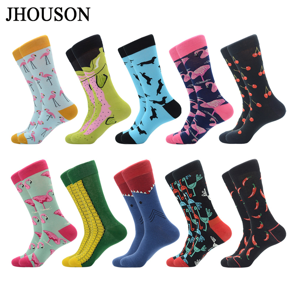 Jhouson 1 Pair Funny Men's Colorful Combed Cotton Dress Socks Flamingo Cherry Pattern Casual Novelty Crew Sock For Wedding Gifts
