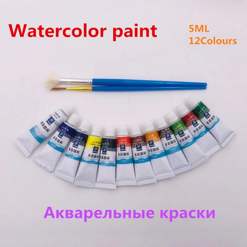 5ML 12 Colors Tubes Set Watercolor Paints Acrylic Paint Water Paint Hand Painted Canvas Pigment Art Supplies Free 2 Brush