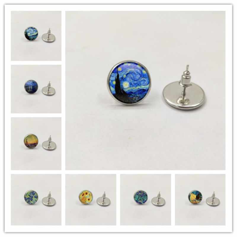 Hot/ Color Simple Style Earings Van Gogh Famous Artist Starry Night Stud Earrings Glass Cabochon Jewelry Women Gifts