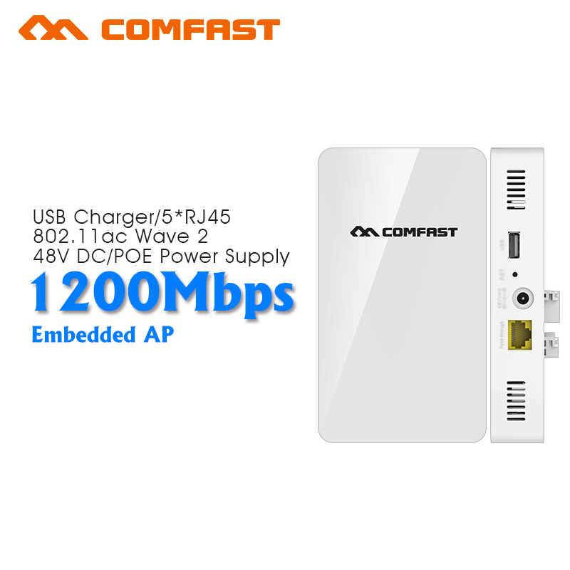 COMFAST 1200Mbps dual band gigabit Wireless in Wall AP 2.4G/5.8G 802.11ac poe Wireless wifi Router with 1 WAN 4 LAN RJ45 port