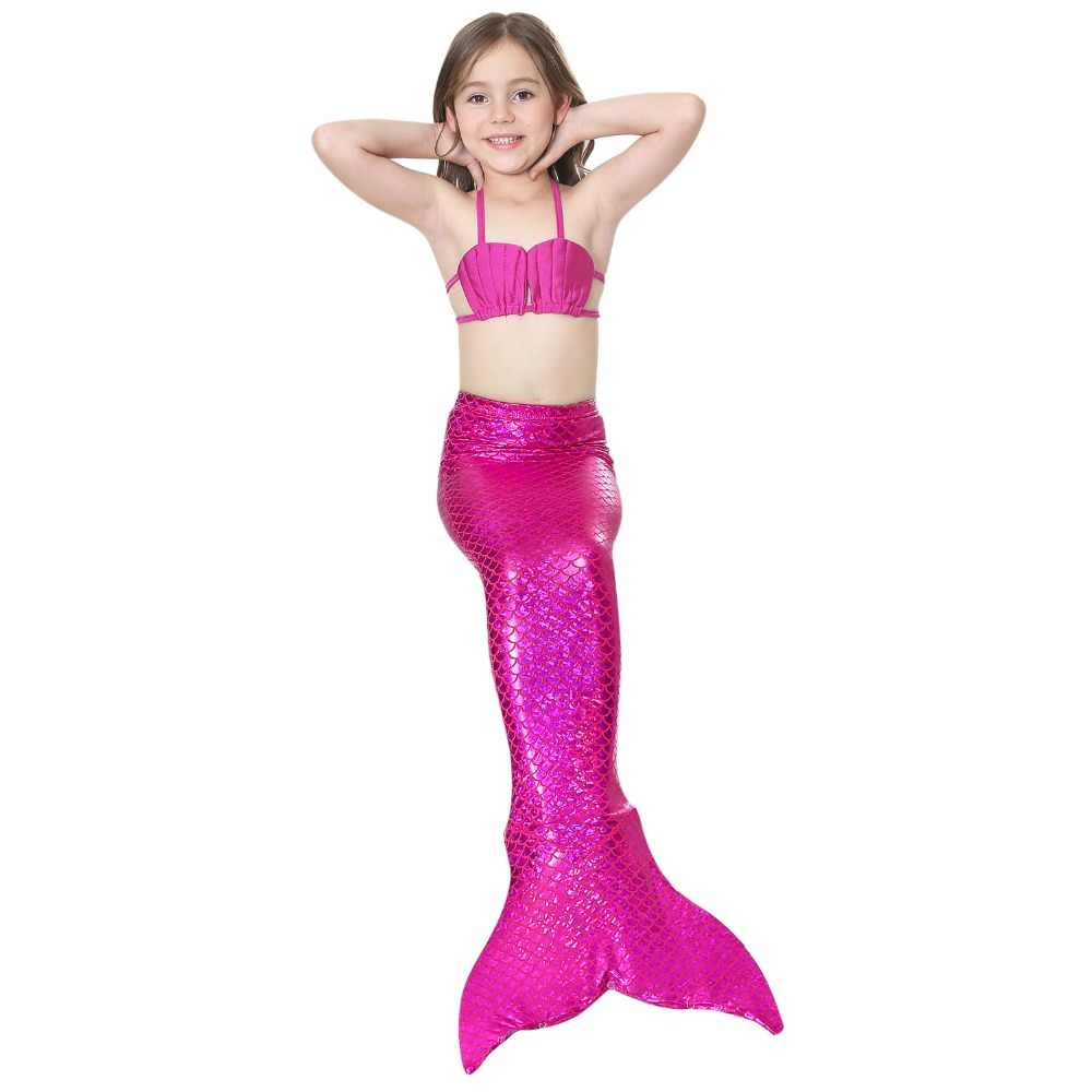 3pcs Fancy The Little Mermaid Swimming Suit Kids Halloween Party Cosplay Swimmable Mermaid Tail Children Ariel Swimsuit Costume