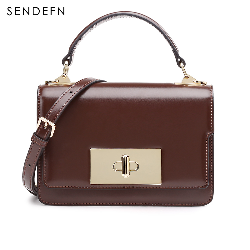 Women Shoulder Bag Luxury Leather Handbags SENDEFN 2018 New Summer Lady Bags Female Crossbody Designer Casual Small Hasp Totes stripe strap leather crossbody bag vintage designer totes for women handbags red fashion lady luxury square buckle shoulder bags