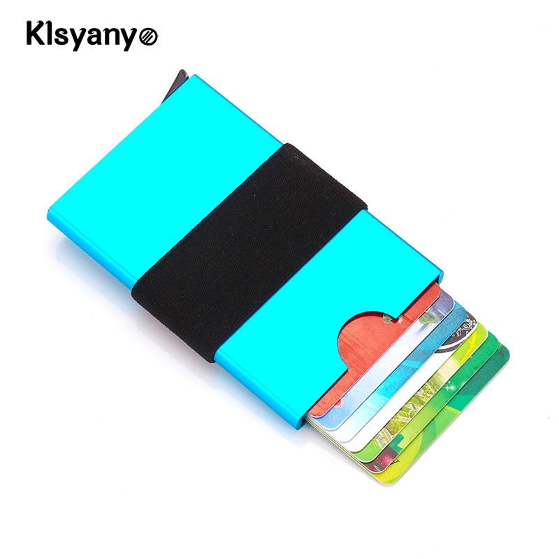 Klsyanyo Minimalist Card Holder Aluminium Wallet Men Women ID Protector Slim Storage Porte Carte with Elastic Band
