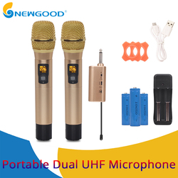 Portable Metal UHF Wireless Microphone System Handheld Karaoke Microphones 6.35mm Receiver For KTV DJ Speech Amplifier Recording