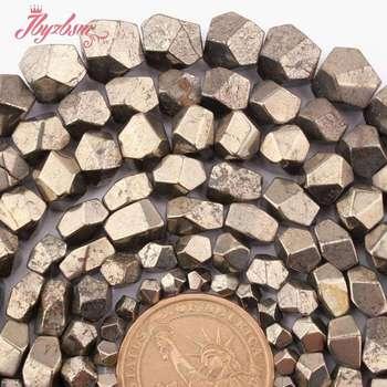 4-6,6-7,7-8,8-9mm Irregular Facetada Pirita Contas Pedra Natural Beads Para Colar DIY pulseiras Jóias Fazendo 15