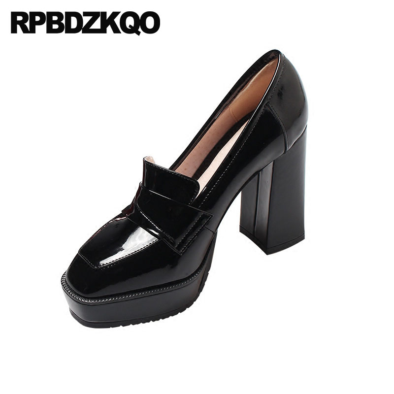 Shoes Luxury Black Pumps Chunky Ultra Super High Heels Classic Patent Leather Extreme Nude Platform Wine Red Square Toe Ladies fashion luxury rhinestone square buckle pointy toe black red nude color patent leather flats shoe for women discount hot selling