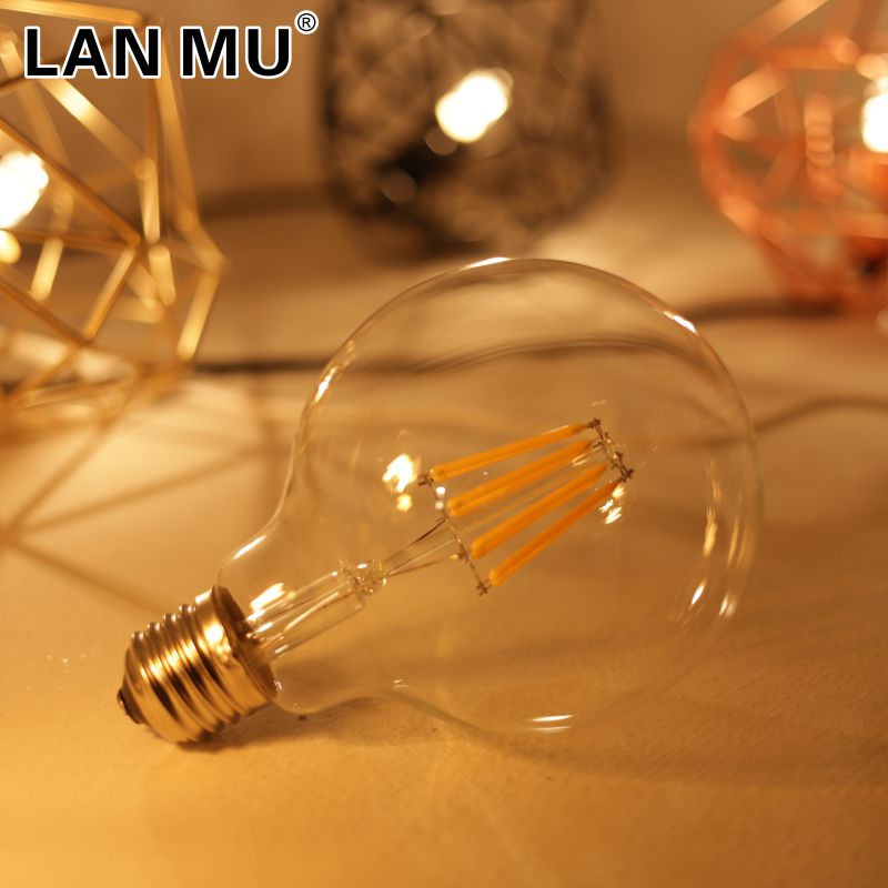 Led Filament Bulb G95 E27 2W 4W 6W 8W clear glass Edison Bulb indoor Lighting AC220V Antique Retro Vintage Led Lamp Light free shipping g95 edison spiral led filament bulb 4w 220v dimmable supper warm 2200k amber glass antique edison lamp bulb