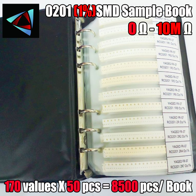 0201 SMD <font><b>Resistor</b></font> Sample Book 170values*50pcs=8500pcs 1% 0ohm to 1.5M <font><b>Chip</b></font> <font><b>Resistor</b></font> Assorted Kit image