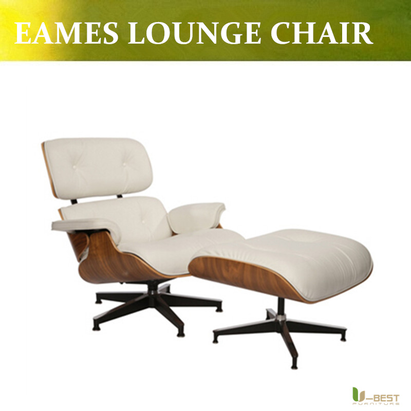 U BEST Modern Style Eaze Lounge Chair And Ottoman For Replica Relaxing Chair,white  Real Leather Chaise