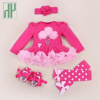 4pcs Newborn Baby Clothes Autumn Spring Cotton Tutu Party Dresses Pink Baby Girl Lace Romper Clothes