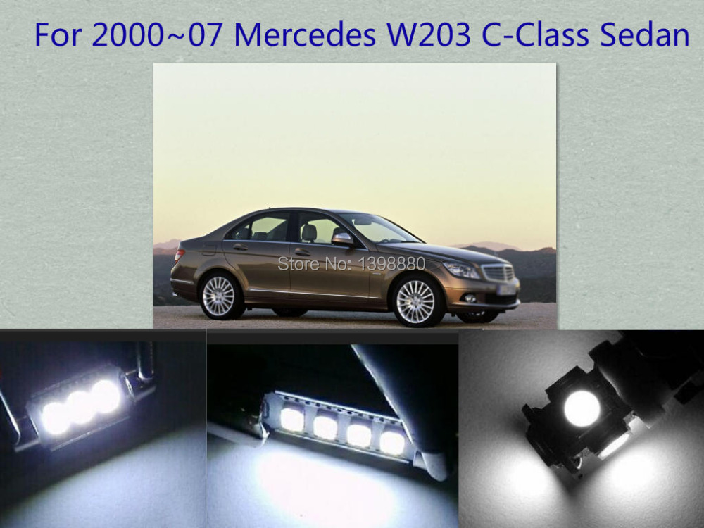 Error Free Canbus 9PCS White LED Interior Package kit For 2000~20007 W203 C-Class Sedan Map DomeTrunk Courtesy Tag Lights