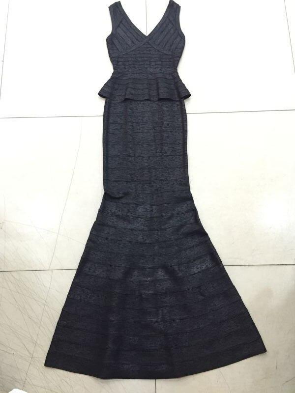 Luxe Femmes Sirène Date Tricoté Long De Bronzage 2017 Robe Sexy Bandage Designer V Moulante Cou ZXOkuPi