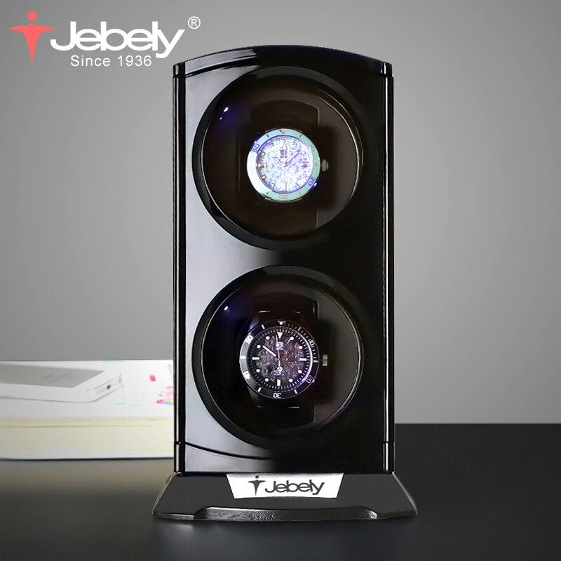 Jebely Nouvelle Arrivée Noir Double Montre Enrouleur pour automatique montres Automatique Double Montres boîte de Montre de Bijoux D'affichage Boîte