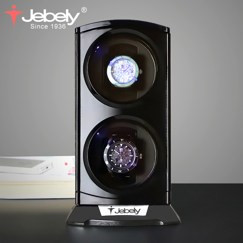 Jebely nouveauté Noir Double remontoir montre pour montres automatiques Automatique Double Montres boîte haute horlogerie présentoir