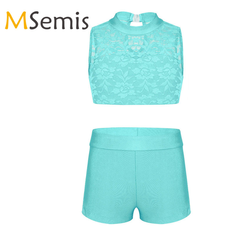 2PCS Kids Girls Swimsuit For Gymnastics Ballet Crop Top With Dance Shorts Set Athletic Outfit Floral Lace Tank Top For Workout