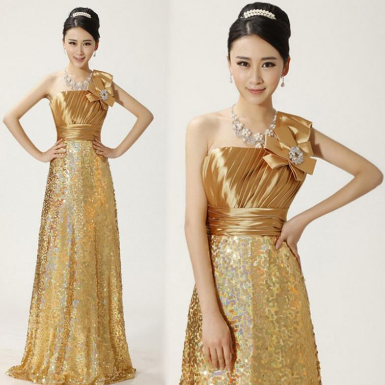 Las One Shoulder Gold Color Glitter Lace Formal Long Evening Dinner Toast Gowns Stage Show Party Prom Bowknot Dress Costumes In Dresses From