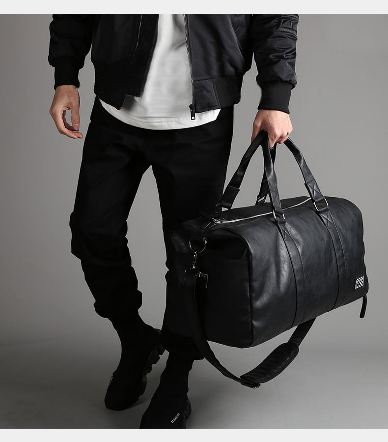 Мужская кожаная дорожная сумка, большая дорожная сумка, независимая обувь для хранения, большие сумки для фитнеса, сумка, сумка для багажа, сумка на плечо, черная, XA237WC