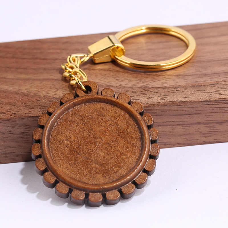 Reidgaller 3 шт. деревянные брелок с кабошоном базовые настройки 30 мм Диаметр деревянный Камея ободок стеклянный брелок для ключей Брелоки аксессуары