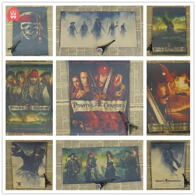 vintage pirates of the caribbean movie poster retro kraft paper bar rh aliexpress com