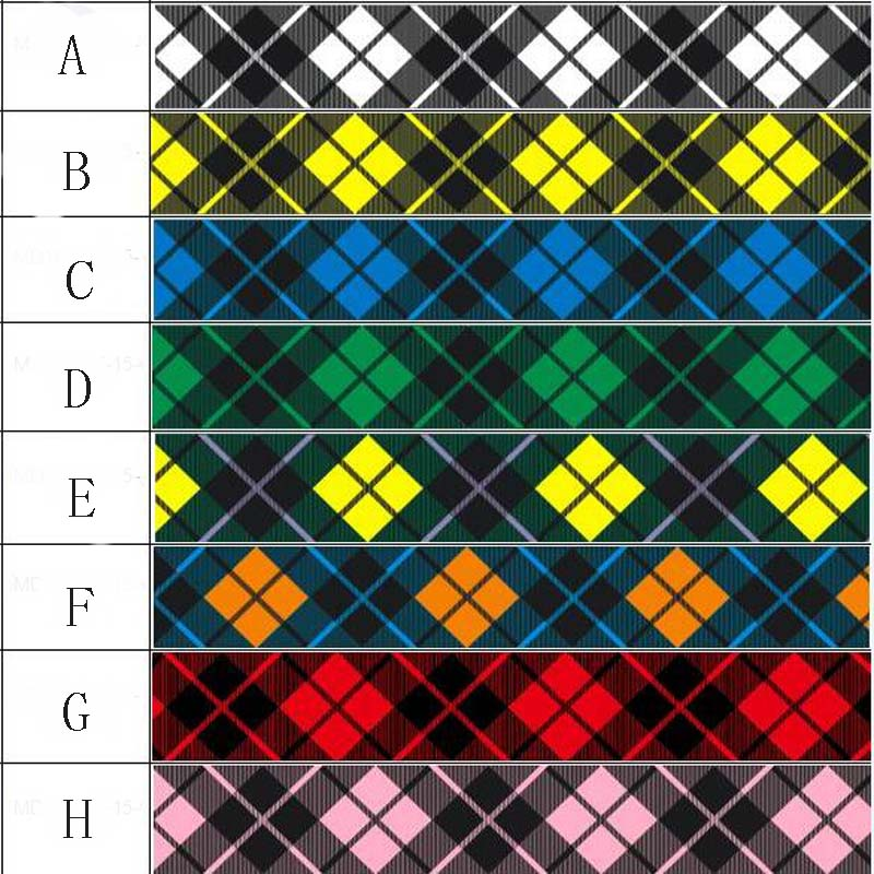 New 25 38mm plaid ribbon <font><b>50</b></font> yards DIY hand bow gift wrap dress accessories. Grosgrain ribbon image