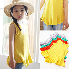 2018 New Style Candy Color T Shirt Girls T-shirt Baby Clothing 2-11y Girl Summer Shirt Cotton Tees Cartoon Clothes Hot Sale