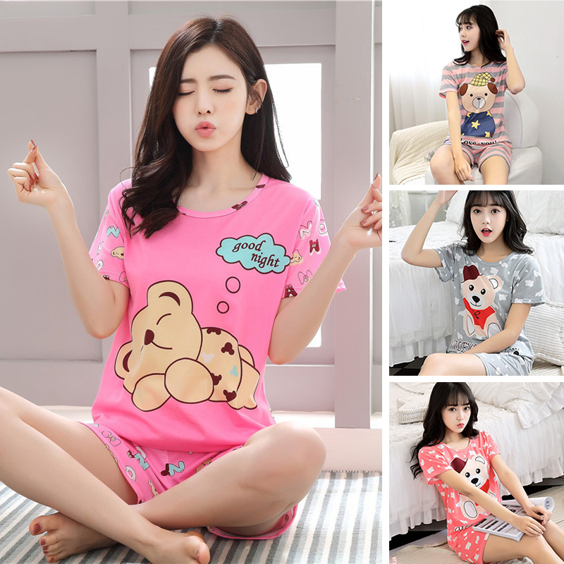 Woman Pajamas Sets Summer Short Sleeved T-Shirt+Short Striped Nightclothes Sweet Girl Sleepwear Cartoon Loungewear Pyjama