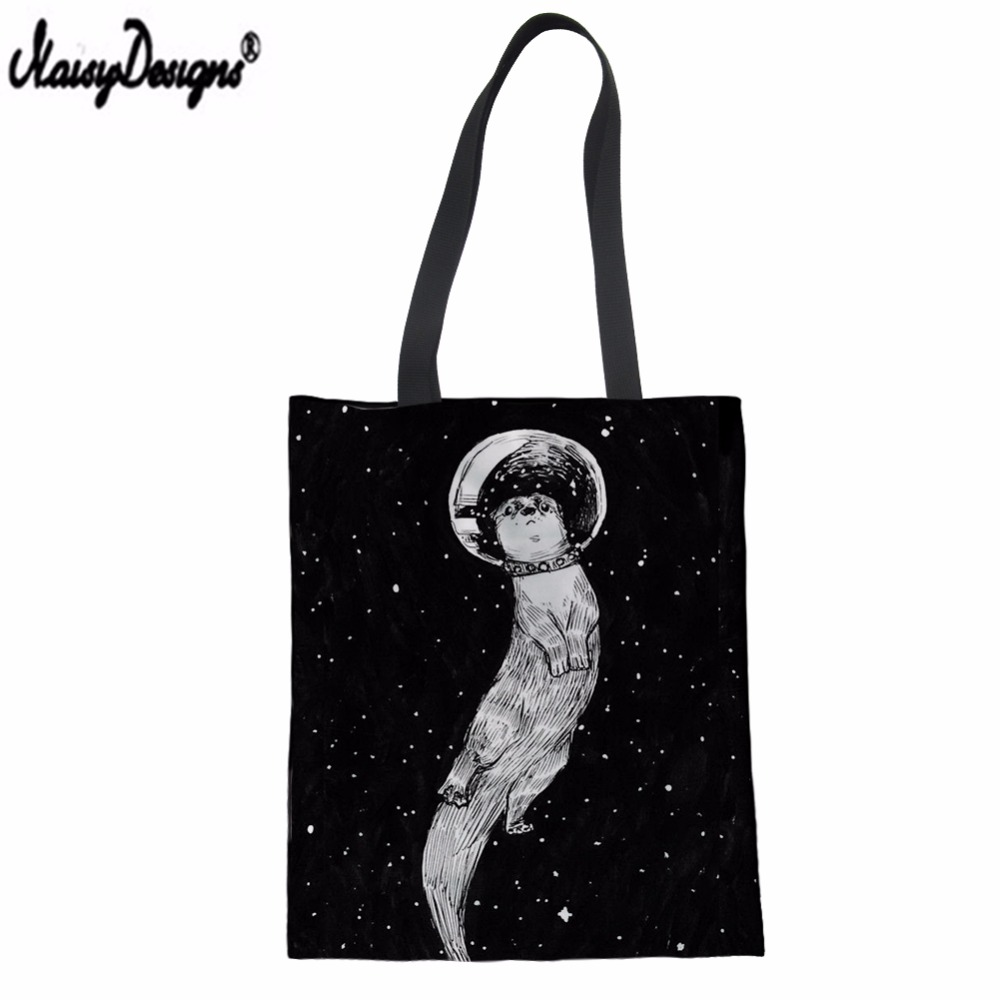 NOISYDESIGNS Tote Bags Beach-Bag Canvas Female Ladies Drifting Space-Print Customized