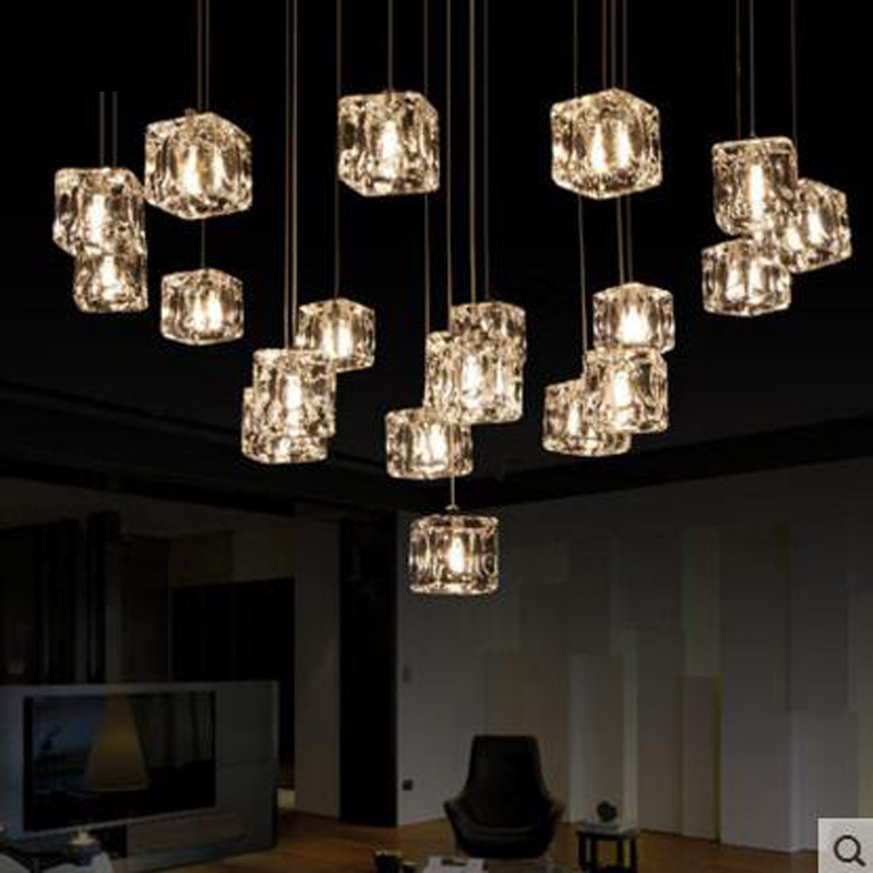 Simple modern ice crystal glass restaurant bar creative art living room bedroom ceiling lamp lighting fixture G4 led bulbs lamps restaurant white chandelier glass crystal lamp chandeliers 6 pcs modern hanging lighting foyer living room bedroom art lighting