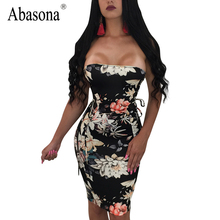 Abasona Strapless floral print women summer dress Slash neck lace up sexy bodycon dress Slim club party dresses vestidos