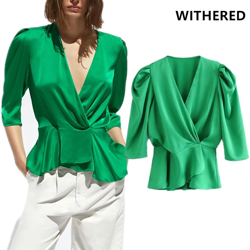 Withered England Style Shine Like Silk V-neck Blusas Mujer De Moda 2019 Kimono Blouse Women Womens Tops And Blouses Plus Size