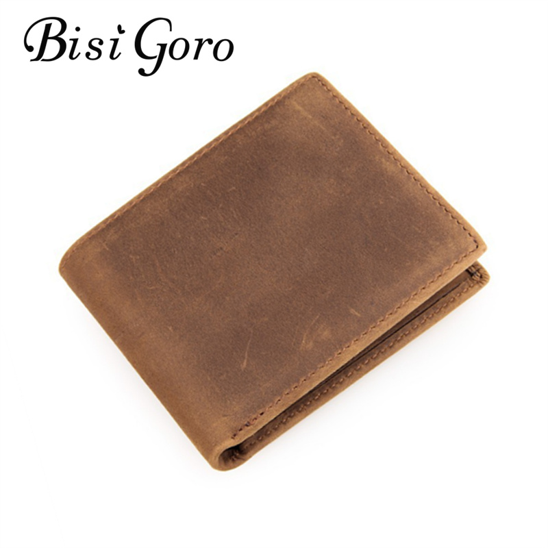 Bisi Goro 2018 Vintage Men Card Holders Genuine Crazy Horse Leather Men Slim Wallet Business Casual Purses 4 Colors ...