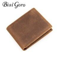 Bisi Goro 2018 Vintage Men Card Holders Genuine Crazy Horse Leather Men Slim Wallet Business Casual