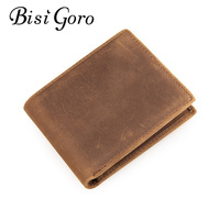 Bisi Goro 2018 Vintage Men Card Holders Genuine Crazy Horse Leather Men Slim Wallet Business Casual