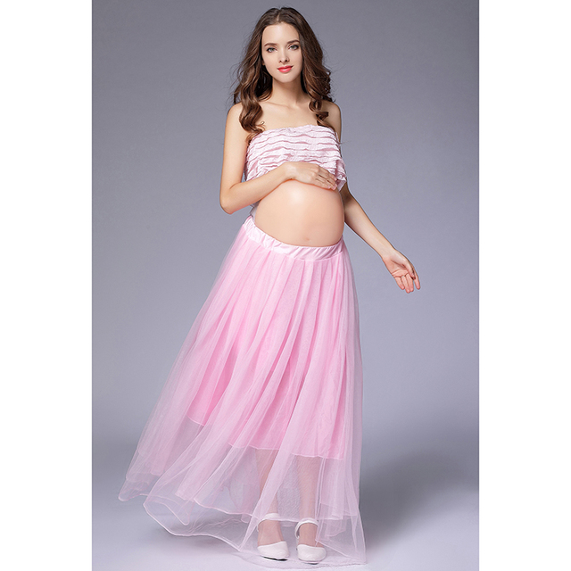 Women Pregnant Photography Props Clothing Set Ball Gown Skirts + Tops 2  Pieces Maternity Skirt for Photo Shooting Pink Wedding f63f8806d056